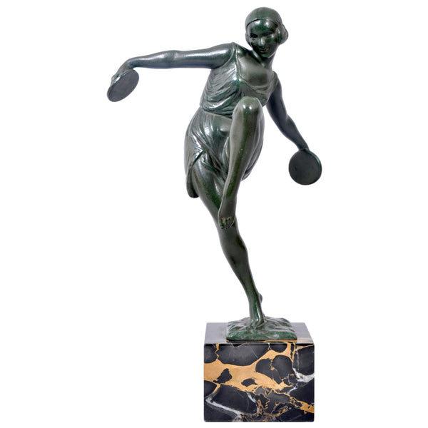French Art Deco Bronze Female Cymbal Dancer Statue / Figure by Pierre Le Faguays (1892-1962), circa 1925