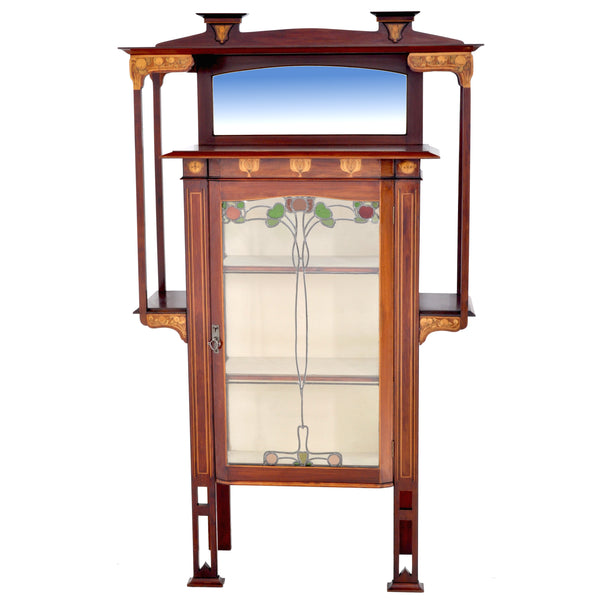 Antique Art Nouveau Inlaid Mahogany China Cabinet by Shapland & Petter for Liberty of London, Circa 1900