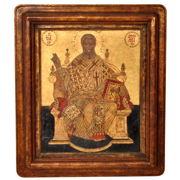 "Antique 17th Century Greek Orthodox Icon, ""Christ Enthroned,"" Gilded Egg Tempera,  circa 1650"