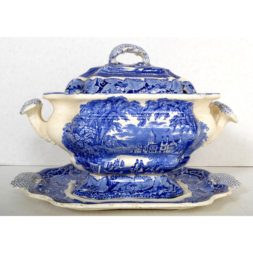 "Antique English Mason's Ironstone Blue & White ""Blue Vista"" Porcelain Tureen/Serving Dish, Circa 1880"