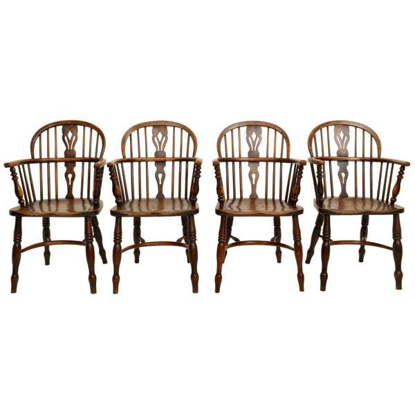 Set of 4 Antique 19th Century English Ash & Elm Low Hoop Back Windsor Chairs, circa 1840