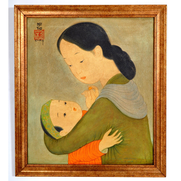 Oil on Canvas Painting by French Vietnamese Artist Mai Trung Thu (1906-1980), 1964