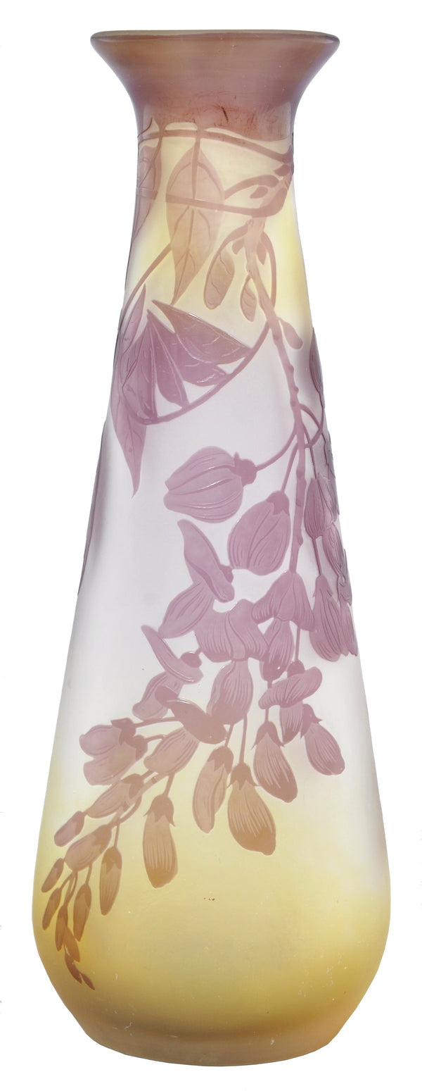 Antique French Art Nouveau Cameo Glass Wisteria Vase by Emile Gallé, Circa 1900