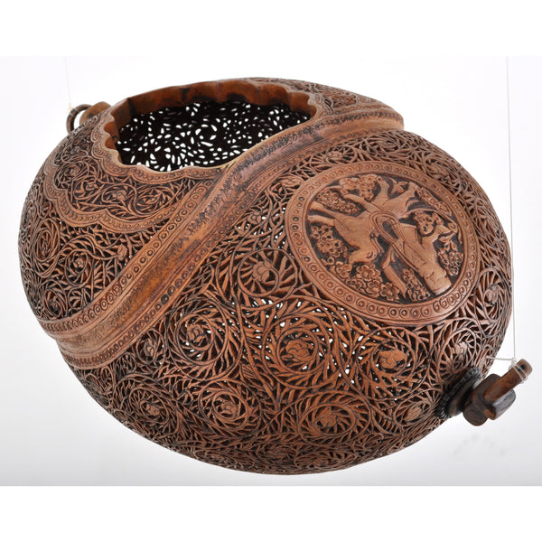 Antique Islamic Qajar Muslim Arab Persian Dervish Sufi Brass Kashkul Begging Bowl, Circa 1800