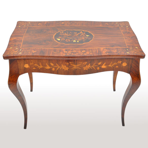 Antique Louis XV French Inlaid Marquetry Bombe Writing Table / Desk / Bureau, circa 1880