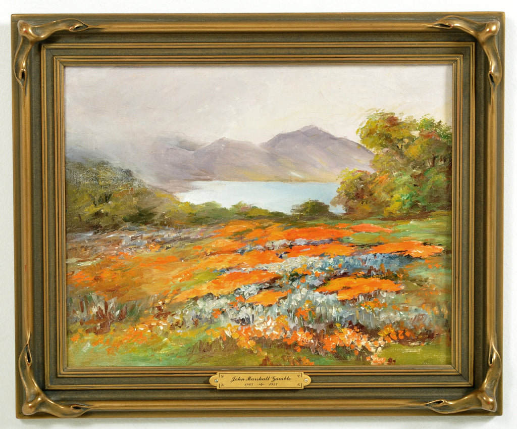 """Poppies and Lupine,"" Oil on Panel by California Impressionist John Marshall Gamble (25 Nov, 1863 - 7 Apr 1957), Circa 1915"