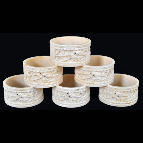 Set of Six Antique Chinese Cantonese Ivory Napkin Rings, Circa 1890