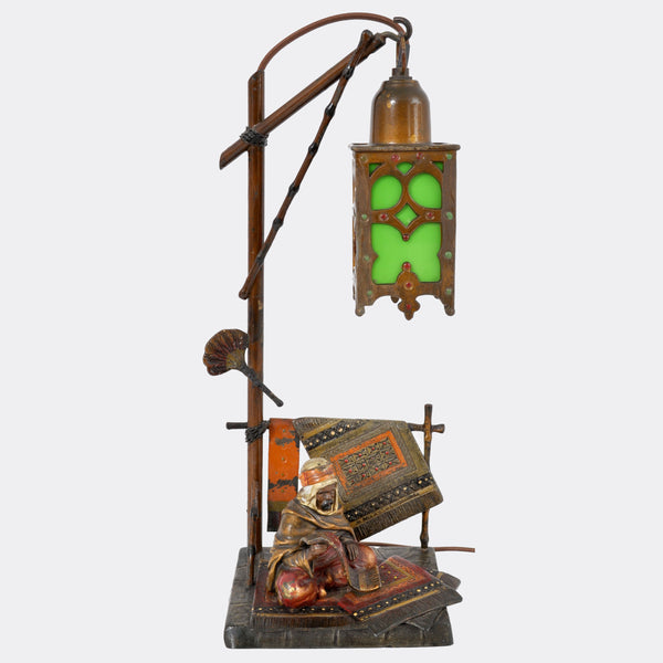 Antique Austrian Cold-Painted Bronze Orientalist Lamp in the Manner of Franz Bergmann, circa 1910