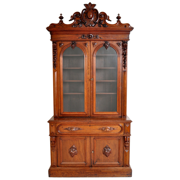Antique American Renaissance Revival Carved Walnut Secretary Desk Bookcase, circa 1870
