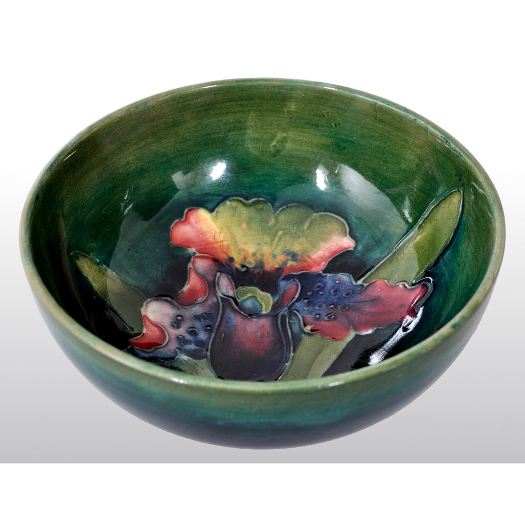 Antique Art Deco Orchid Pattern Flambé Pottery Bowl by William Moorcroft, circa 1928