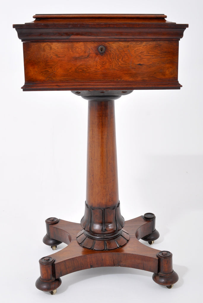 Antique English Regency Rosewood Teapoy/Table, Circa 1825