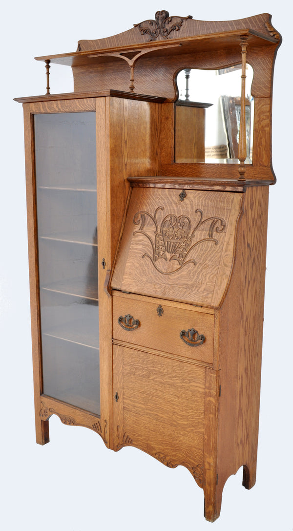 Antique American Oak Larkin Desk / China Cabinet / Hutch, Circa 1890