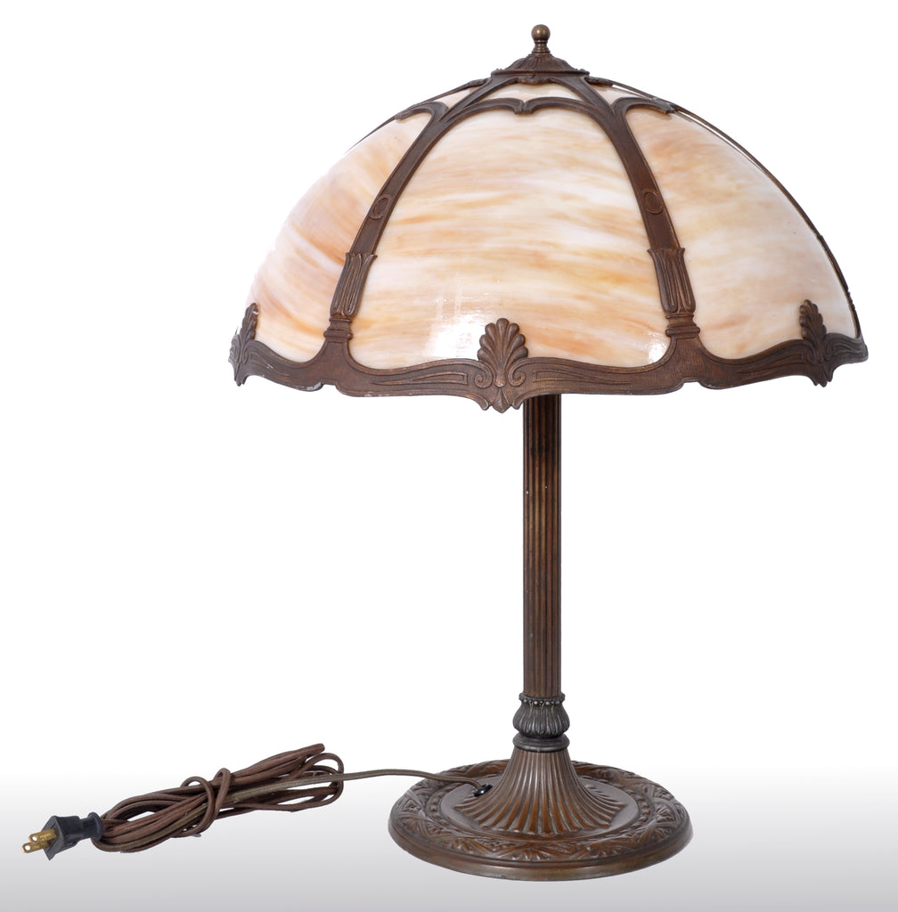 Antique American Art Nouveau Slag Glass and Bronze Table Lamp by Bradley & Hubbard, circa 1915