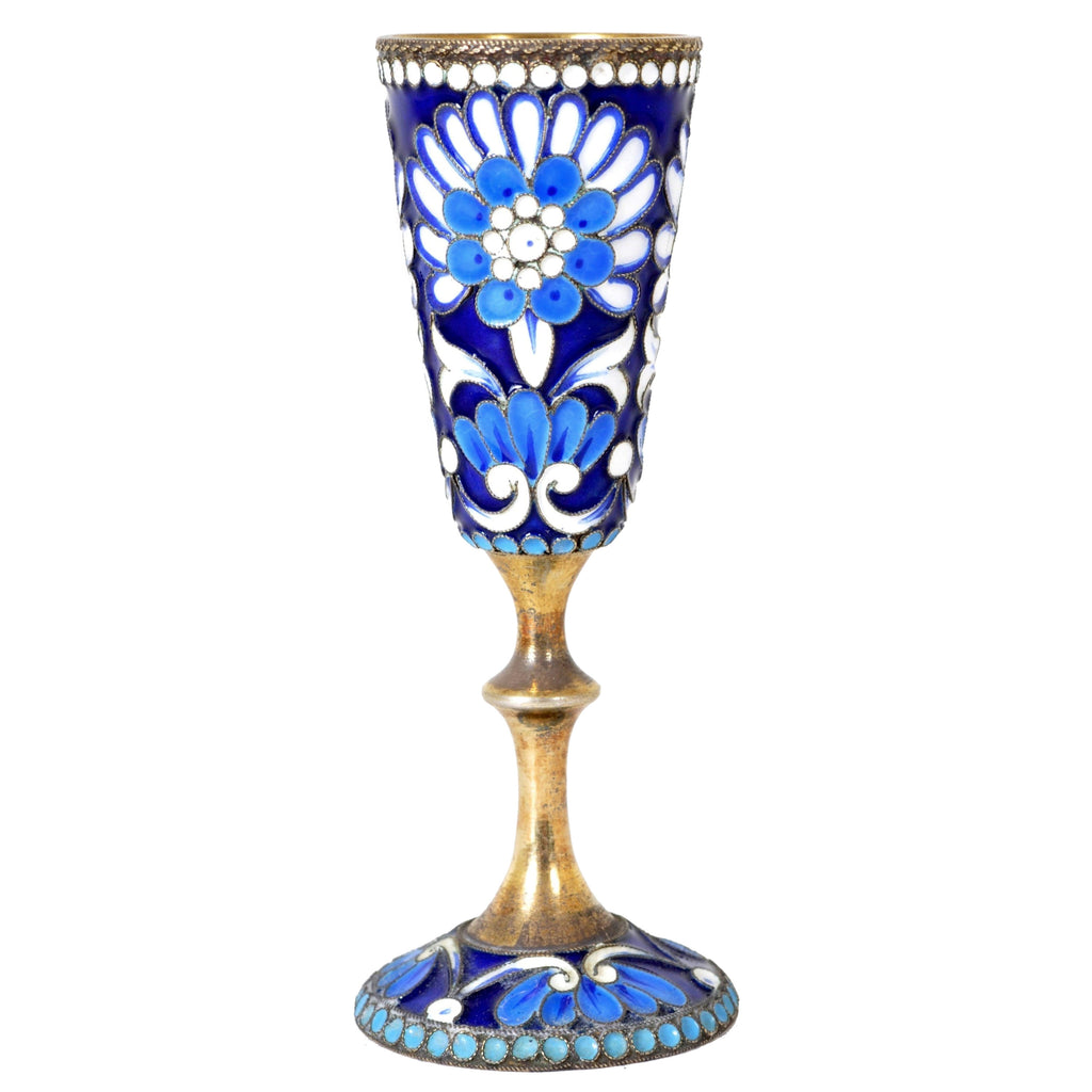 Antique Russian Silver Gilt Enameled Cup/Glass, Circa 1900