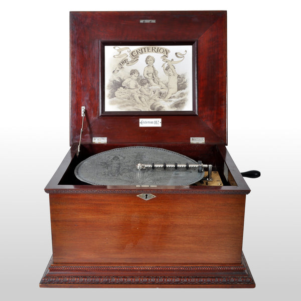 "Antique 14"" Disc Music Box in Mahogany Case by Criterion, Circa 1880"