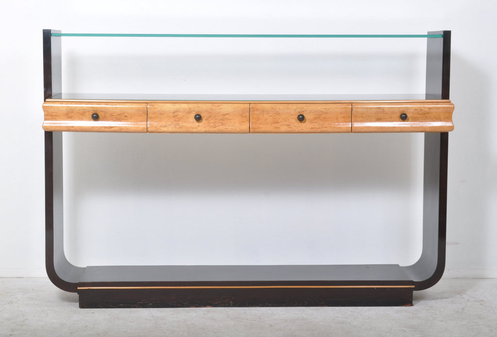 Art Deco Style Bird's-Eye Maple, Ebonized and Glass Console Table