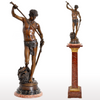 """David Apres le Combat"" Antique French Bronze Statue & Marble Column by Antonin Mercie (1845-1916), circa 1880"