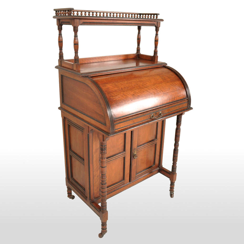 Antique Victorian Aesthetic Movement Cylinder Davenport Desk, Circa 1875