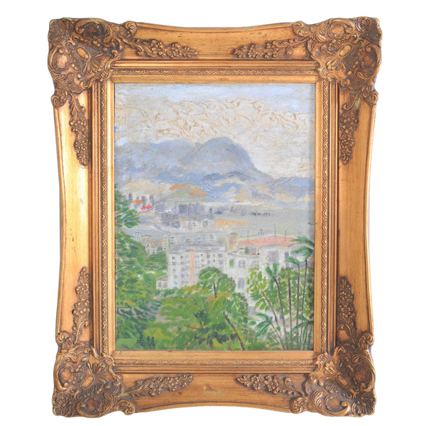 Important Impressionist Original Oil Painting Landscape of Hong Kong circa 1950s, by the Celebrated Chinese Artist Hu Shanyu (1909-1993)