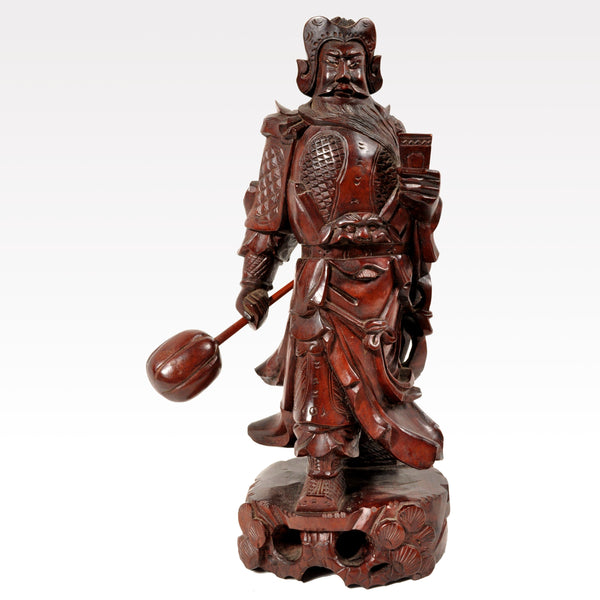Antique Chinese Carved Wooden Warrior in Zeitan Wood, Circa 1850