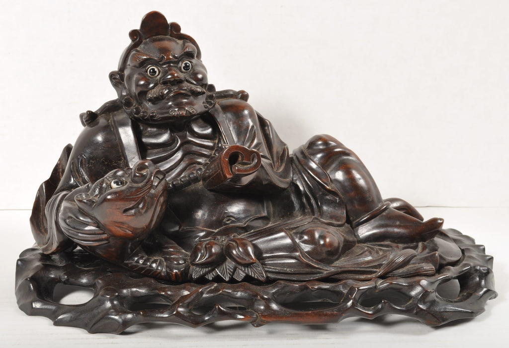 Antique Chinese Qinq Dynasty Rosewood Carving of an Immortal, Circa 1880