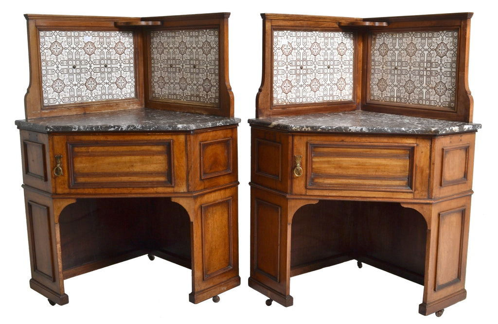 19th Century Pair of Oak Corner Washstands with Minton's Tiles by Maple of London , Circa 1875