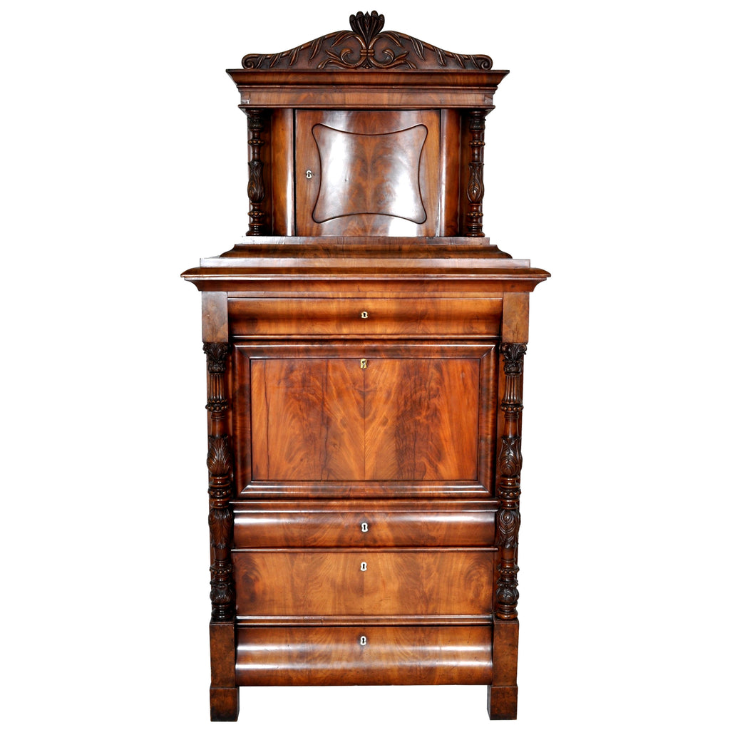 Biedermeier Walnut Secretary Desk/Cabinet, Circa 1840