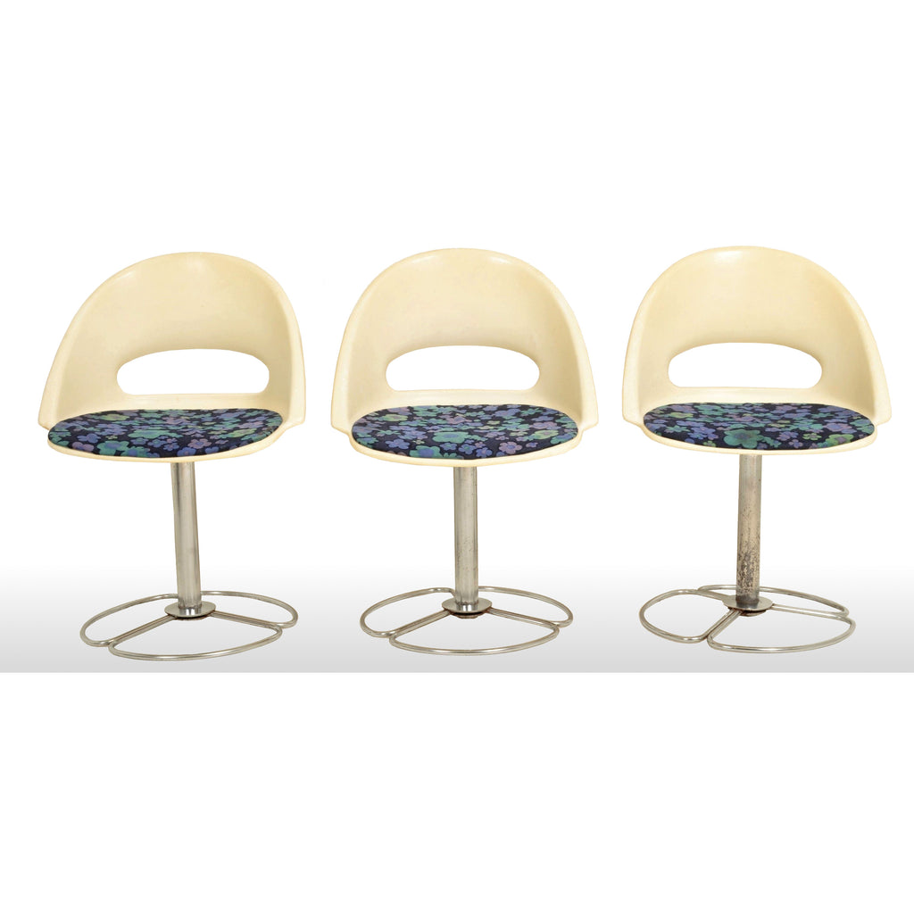 Set of 3 Mid-Century Modern Steel & Plastic Chairs, 1960s