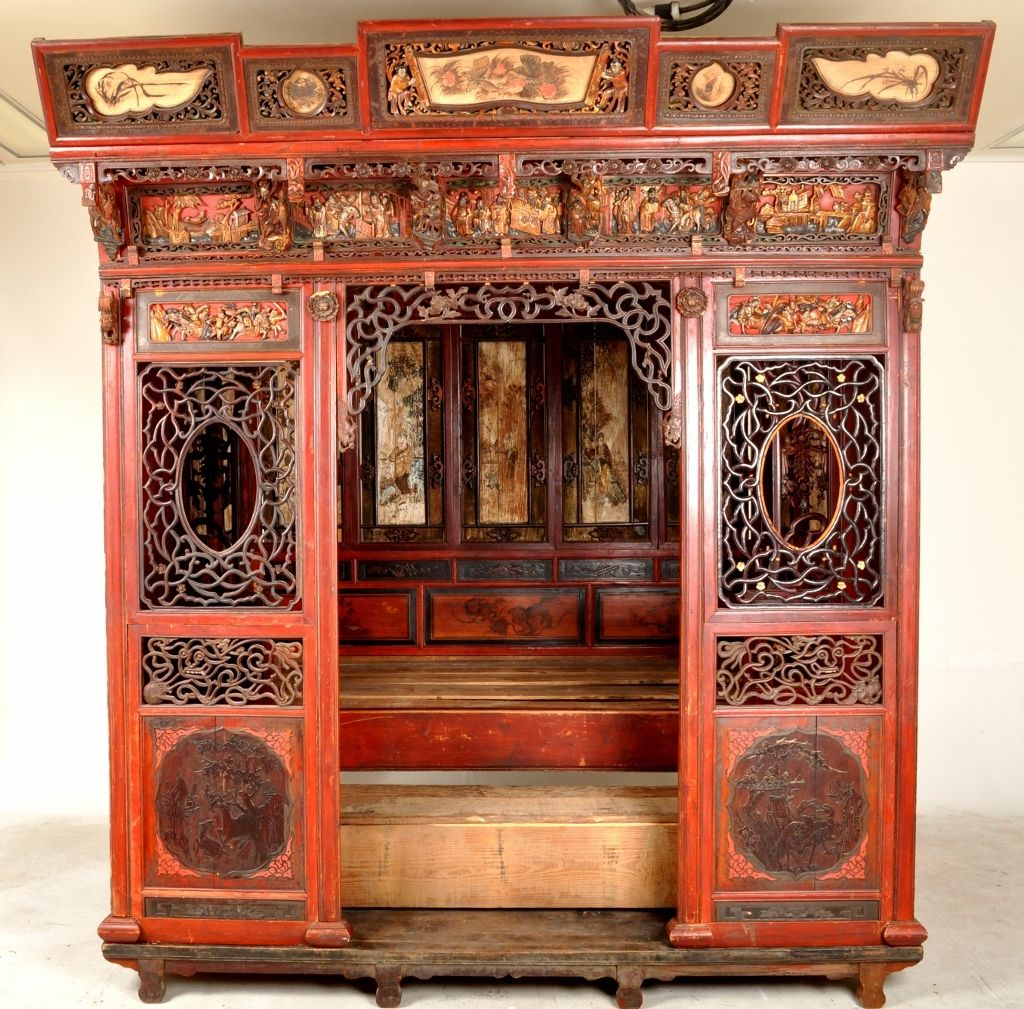 Chinese Carved Wedding Bed, Qing Dynasty, Circa 1880