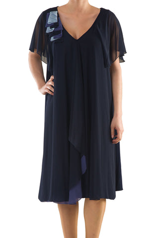 La Mouette Women's Plus Size Chiffon Dress with Kimono Sleeves