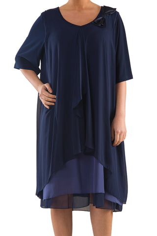 La Mouette Women's Plus Size Draped Chiffon Dress