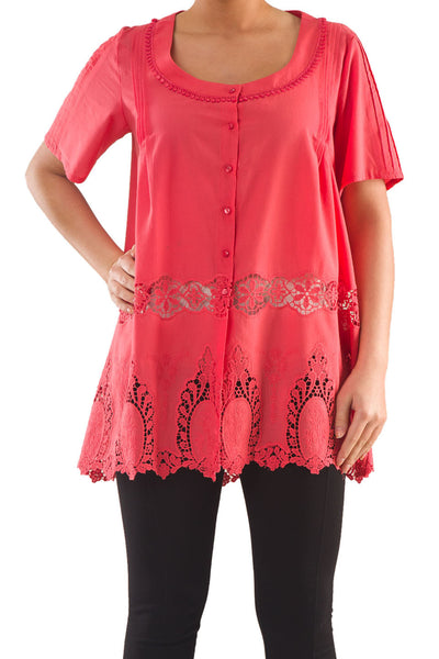 La Mouette Women's Plus Size Embroidered Voile Tunic