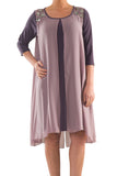 La Mouette Women's Plus Size Dress with Layered Cape Effect