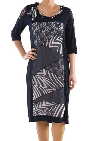 La Mouette Women's Plus Size Dress with Diagonal Panels