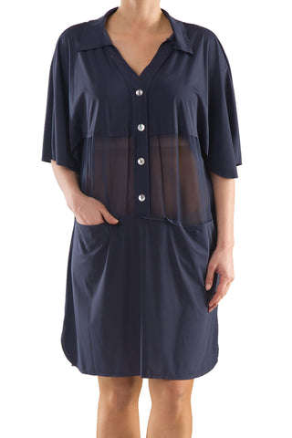 La Mouette Women's Plus Size Buttoned Chiffon Tunic Dress