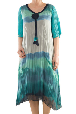 La Mouette Women's Plus Size Tie-Dye Crinkled Dress
