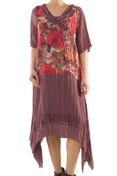 La Mouette Women's Plus Size Dress with Lace & Print
