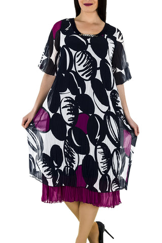 La Mouette Women`s Plus Size Digital Print Mesh Dress