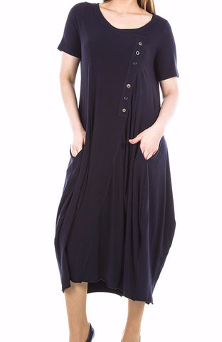 La Mouette Women`s Plus Size Tulip Dress with Buttons