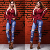 Fashion Long Sleeve Causal Plaid Blouse With Bow