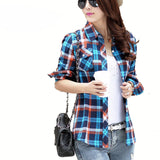 Casual Button Down Plaid Checks Flannel Long Sleeve Shirt