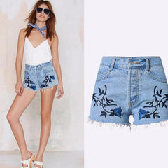 Blue Flower Embroidery Classical Mini Shorts