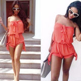 Off Shoulder Solid Short Pant Jumpsuit
