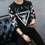 Long Sleeve Geometric Stag Print Shirt
