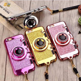 3D Retro Glitter Camera Mirror Phone Case