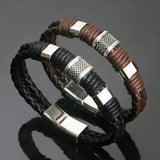 Genuine Leather Wrap Weaved Braided Bracelet