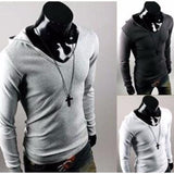 Hooded Long Sleeve V Neck Shirt
