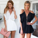 Loose Fit V-Neck Short Elegant Jumpsuit