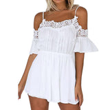 White Off Shoulder Bandage Romper