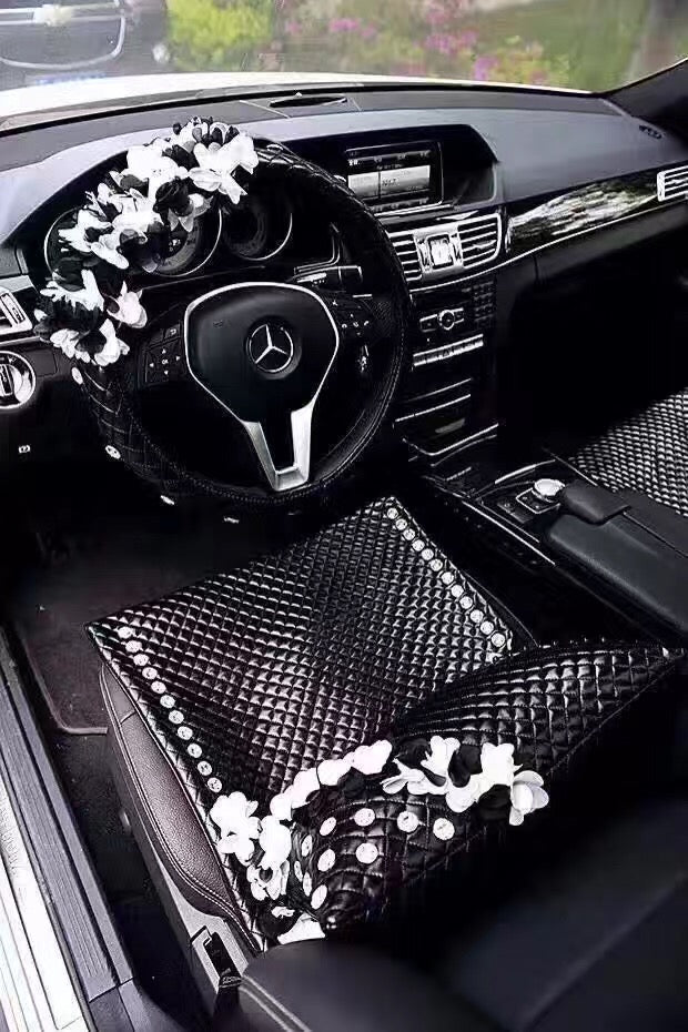 Rhinestone Lace Style Flower Car Accessories